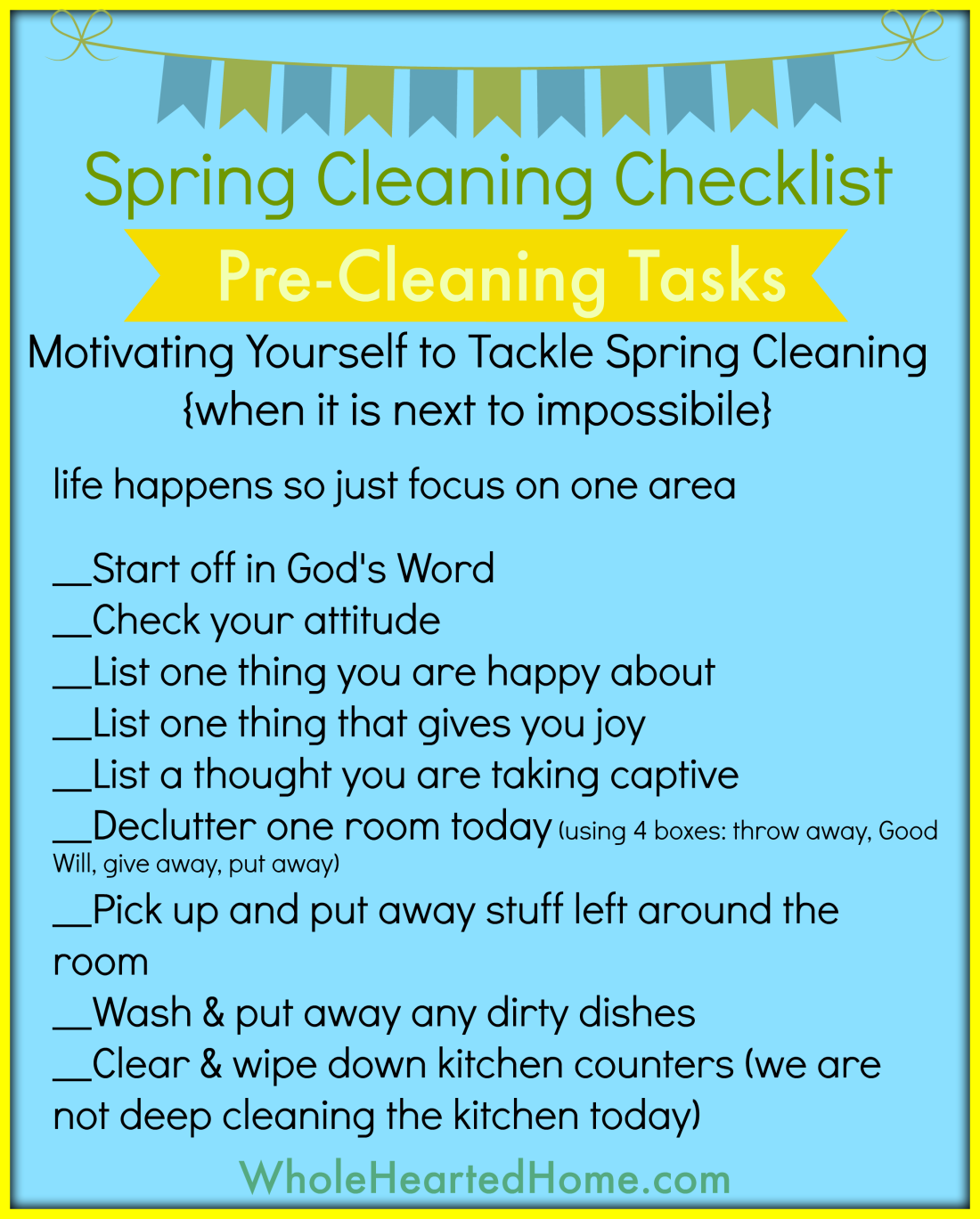 Spring Cleaning Checklist - Pre-Cleaning Tasks