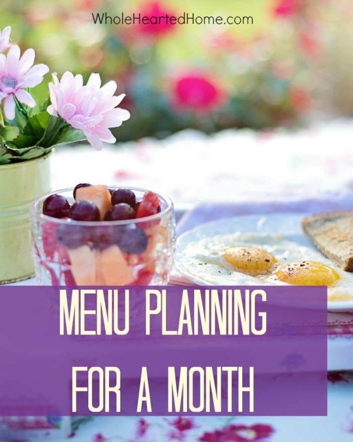Menu Planning for a Month 2