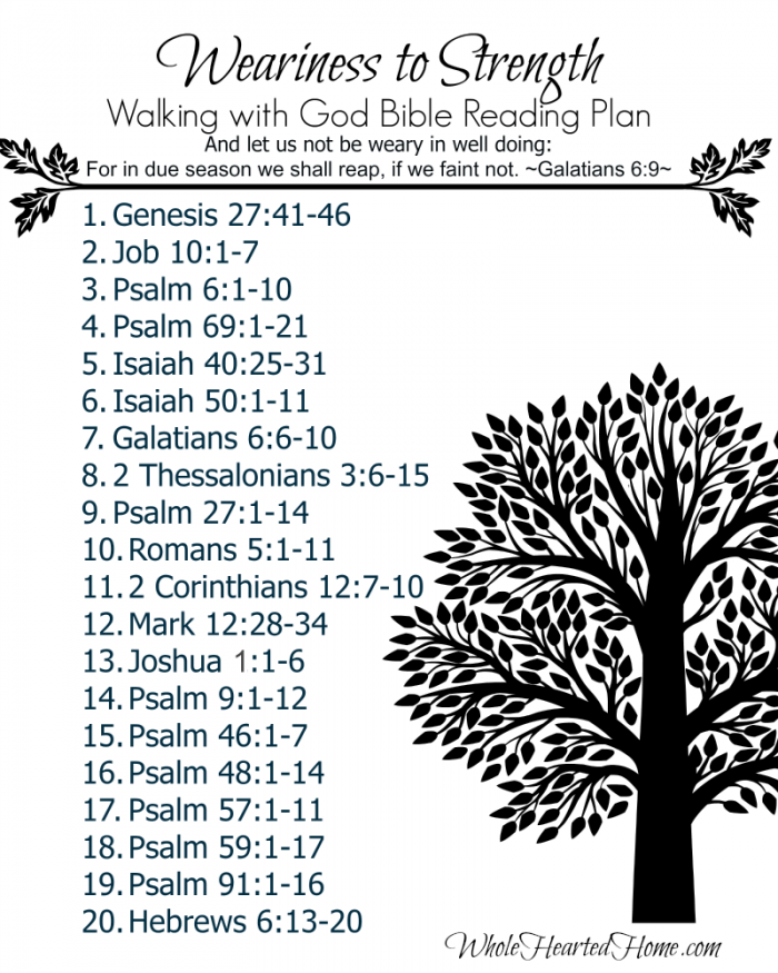 Weariness to Strength Bible Reading Plan